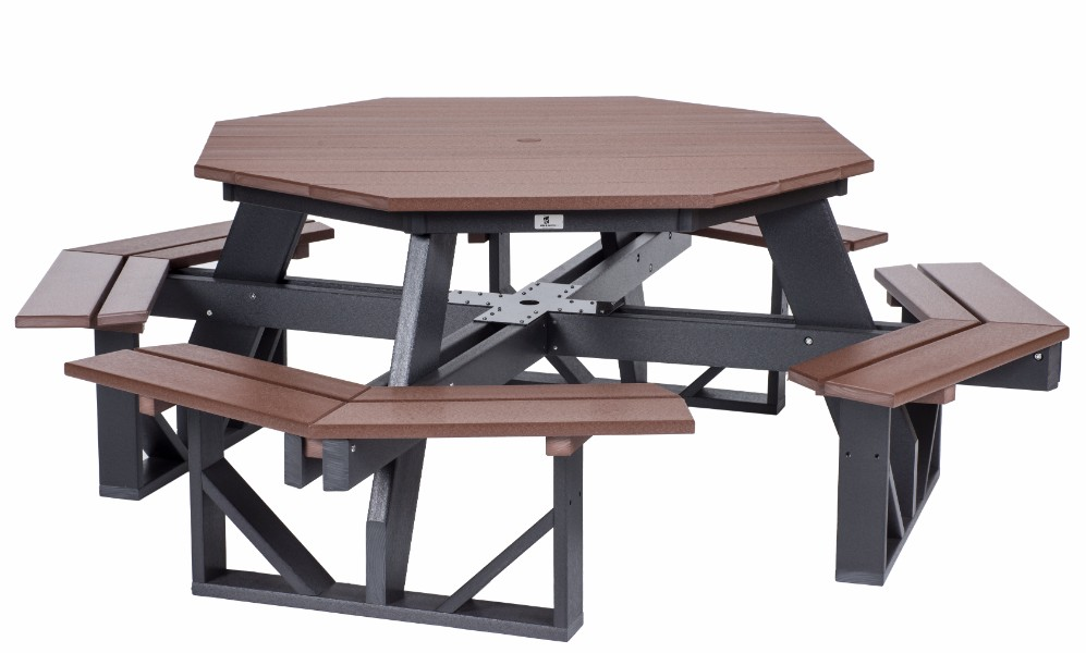 Berlin Gardens Octagon Picnic Table Natural Finish Picnic Tables - Picnic table finish